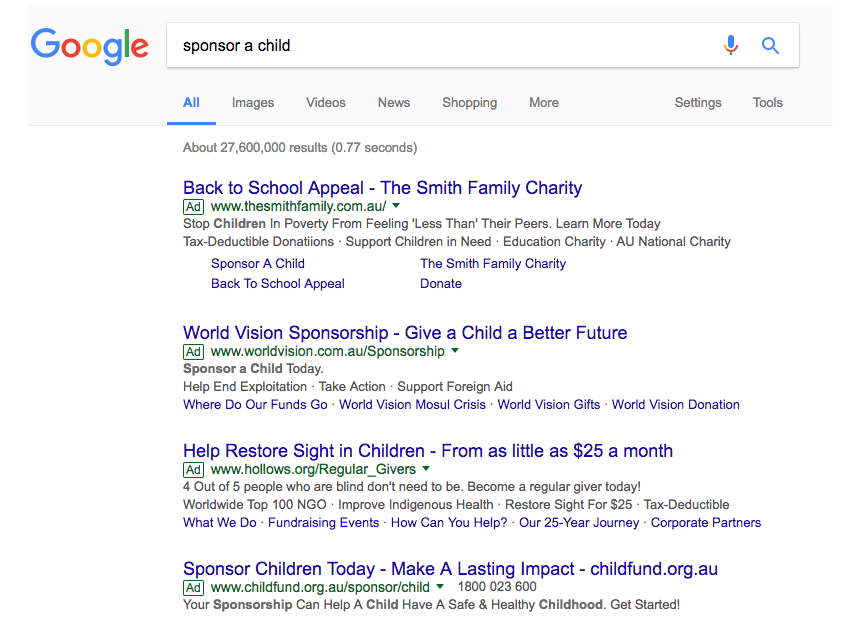 Google Sponsor a Child AdWords